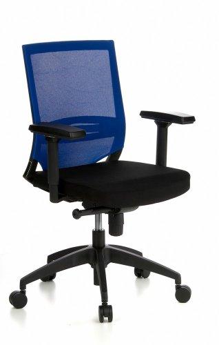 hjh OFFICE 657231 Profi Bürostuhl Porto Base Stoff/Netz Blau Drehstuhl ergonomisch, Armlehnen & Lordosenstütze verstellbar