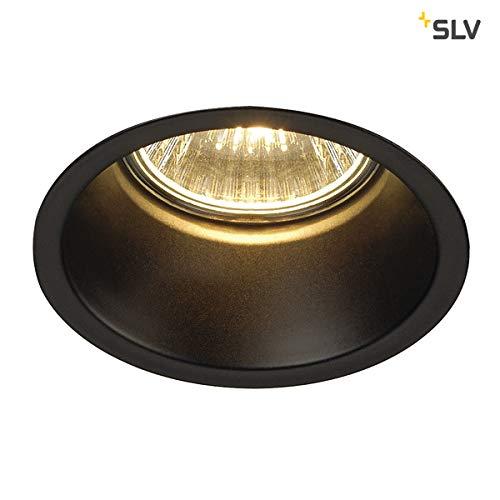 SLV LED Einbaustrahler HORN-O, rund, schwarz, Dimmbare Decken-Lampe zur Beleuchtung innen, LED Spots, Fluter, Deckenstrahler, Deckenleuchten, Einbau-Leuchte, 1-flammig, GU10 QPAR51, EEK E-A++