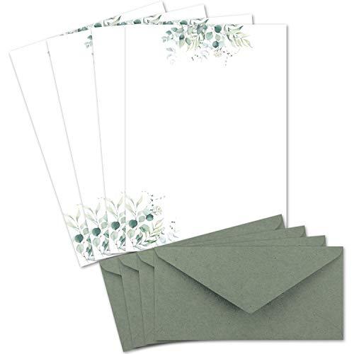 25 Briefbogen-Sets DIN A4 - Naturpapier in Creme mit Eukalyptus-Zweigen - mit Briefumschlägen DIN Lang in Eukalyptus-Grün Briefpapier bedruckbar ideal für Hochzeitseinladungen