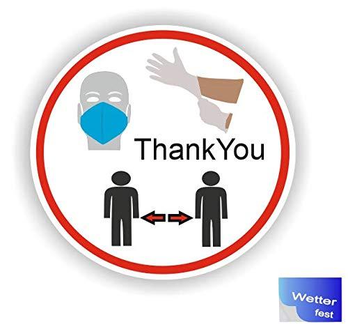 Generisch 1 Stück Handschuhe tragen Abstand halten Mundschutz Sicherheits Symbol Aufkleber Abziehbild (R50/1) W (15cm)