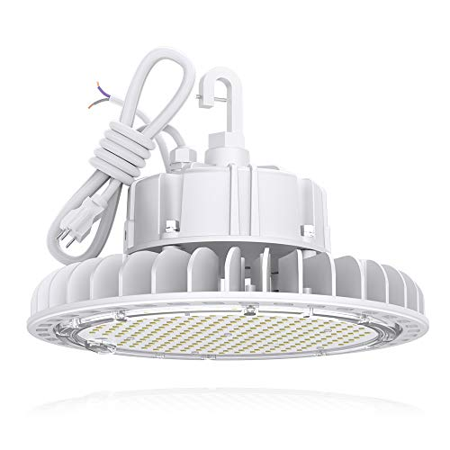 HYPERLITE 4000K White 100W CRI>80 13,500LM Dimmable High Bay LED Shop Light 5' Cable with 110V Plug Hanging Hook Safe Rope UL/DLC Approved