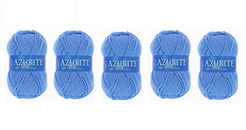 Lot 5 Pelotes de laine Azurite 100% Acrylique Tricot Crochet Tricoter - Bleu - 151