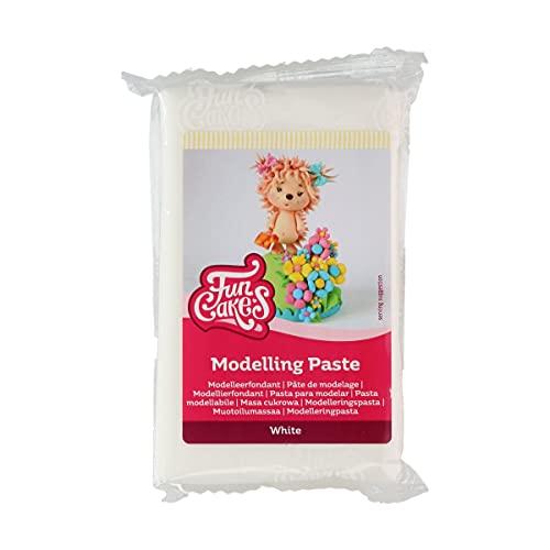 FunCakes Pasta de Modelar Blanca: Perfecta para modelar figuras, adornos para tartas y volantes. Fuerte, suave y flexible. Halal, Kosher y Sin Gluten. 250 g.