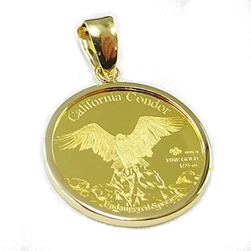 [あなたと私の宝石箱] ペンダントトップ 純金コインジュエリーペンダントヘッド コンドル&レッドウルフ 1/25oz California Condor & Red Wolf/Endangerd Species