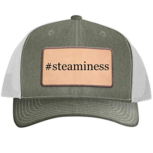 #Steaminess - Hashtag Leather Light Brown Patch Engraved Trucker Hat Heatherwhite, One Size