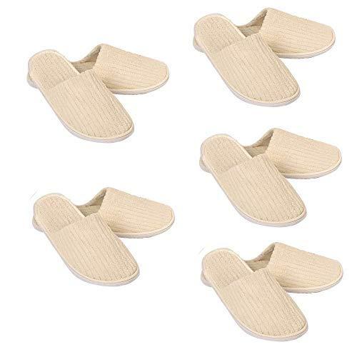 5 pares de zapatillas desechables de tamaño universal, de gran calidad, lavables, antideslizantes, para hotel, de coral, para fiestas, 5 pares, color amarillo