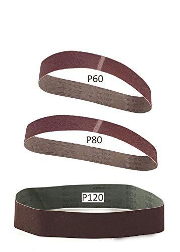 Parkside - Juego de 3 bandas de lija (grano 60, 80, 120) LIDL PARKSIDE PSBS 240 B2 y también apto para PSBS 240 A1
