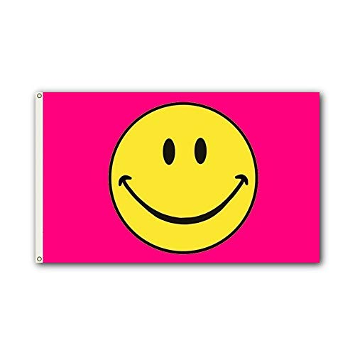 Shoe String King SSK Smiley Face (Pink) Outdoor Flag - Large 3' x 5', Weather-Resistant Polyester