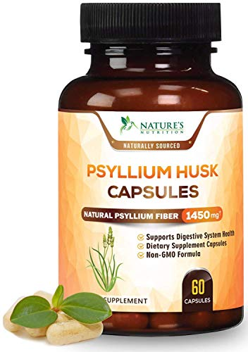 Psyllium Husk Capsules Premium Dietary Fiber 1450mg - Psyllium Powder Supplement - Made in USA - Best Soluble Fiber Pills, Helps Support Digestion & Regularity - 60 Capsules