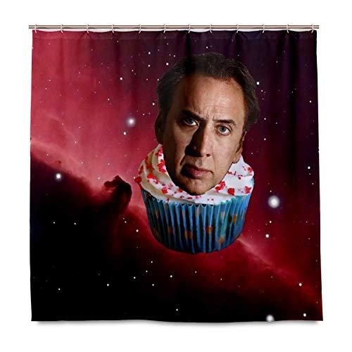 N \ A Funny Nicolas Cage Space Cupcake Duschvorhang für Badezimmer, Heimdekor-Set mit 12 Haken, Polyester-Stoff, maschinenwaschbar, wasserdicht, Duschvorhang, 152,4 x 182,9 cm