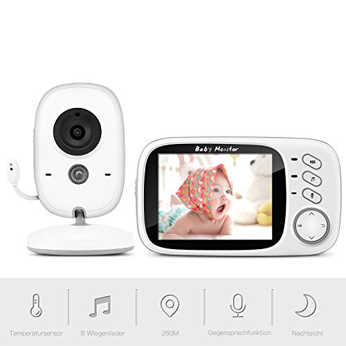 "Babyphone mit Kamera, BOIFUN Smart Baby Monitor Video Überwachung mit 3.2"" Digital LCD Bildschirm Wireless, VOX, Nachtsicht, Wecker, Temperaturüberwachung, Gegensprechfunktion, Wiederaufladbar"