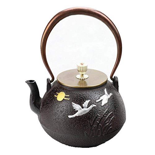 GUOCAO Teteras de hierro fundido con infusor de 1 litro de hierro fundido tetera sur de Japón tetera kung fu, tetera de metal para bebidas y té de cerámica