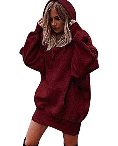 Ronamick Damen Kapuzenpullover Lange Ärmel Hoodie Pullover Frauen Einfarbig Mantel Jacke lang Kapuzenpullis Pulli hoodys (Rot, S)