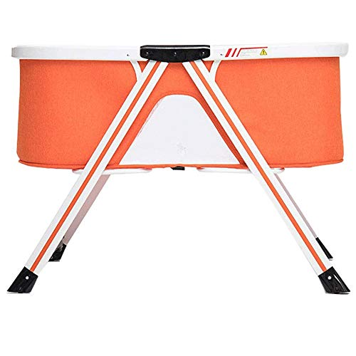 Reis for Baby - Rocking & Stevige Cradle Folding- reizen Bed & Crib Baby Met Klamboe en Matras, Portable Bed Side Sleeper for pasgeboren baby (Color : Orange)