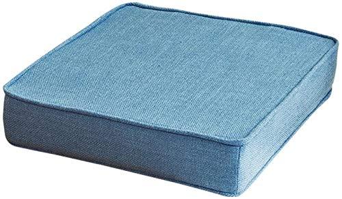 Almohadillas de esponja de lino, gruesas, no antideslizantes, lavables y extraíbles, transpirables, chinas para sillas de comedor, color azul marino, 60 x 60 x 5 cm