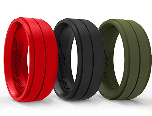 Arua Silicone Wedding Ring for Men - 3-Pack Wedding Bands. Safe and Durable Rubber Wedding Bands for Men - Black, Red, Green, 3 Rings Set - Gift Box Included!