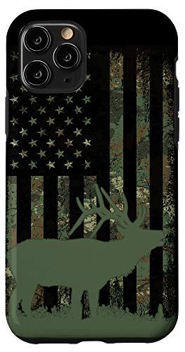 iPhone 11 Pro Camo American Flag Elk Hunting Gift Men Hunter Camouflage Case