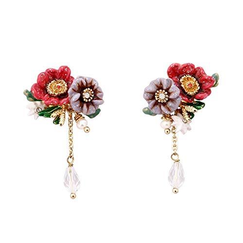 Byrhgood Moda Creativa 琅 琅 Pendientes de Dos Colores de la Flor Pendientes de la Borla de la Hembra 3.3 * 2.1cm