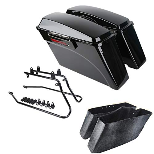 XFMT Hard Saddle Bags Trunk W/Lid & Latch Keys Softail Conversion Bracket Compatible with Harley