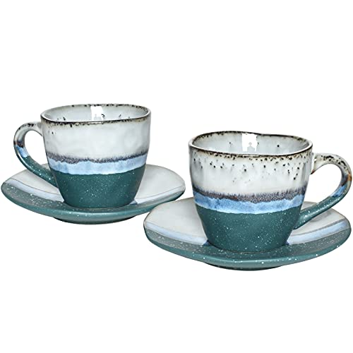 Bosmarlin Stoneware Coffee Cup Mug with Saucer Set of 2 for Latte, Cappuccino, Tea, Oz, Dishwasher and Microwave Safe (Green, 2)