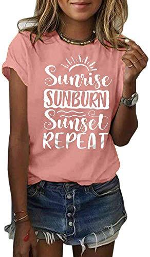Country Music Women Tshirt Sunrise Sunburn Sunset Repeat Vacation Tops Retro Graphic Summer Casual Short Sleeve Tee Top (Pink, Medium)
