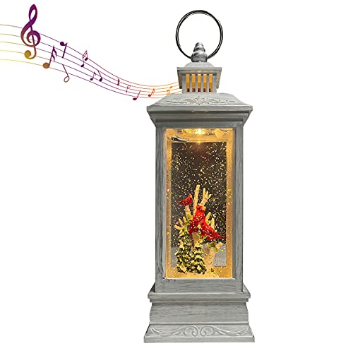 GOOSH Lighted Christmas Snow Globe Lantern, Red Bird On Tree in Musical Decoration Gift with Battery Operated LED Water Glittering Music Playing with 6H Timer, Christmas Home Lantern Décor