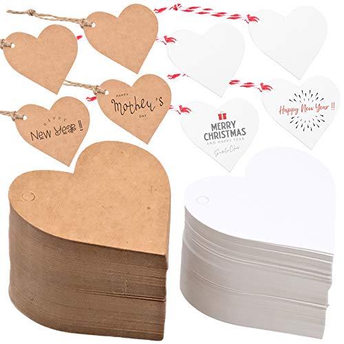 Cisolen 200 Stück Geschenk Anhänger Kraftpapier Geschenkanhänger mit Herz und Jute für Hochzeit Dekoration Party Geschenk Etiketten