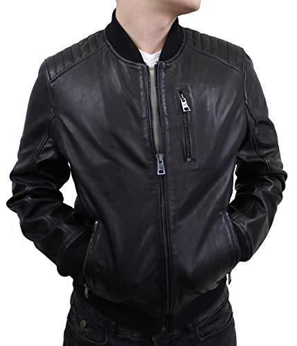 Lederjacke Sami - Herren Jacke im College-Stil aus echt Lamm Leder in schwarz mit Strickbund und -Kragen (Schwarz, 3XL)