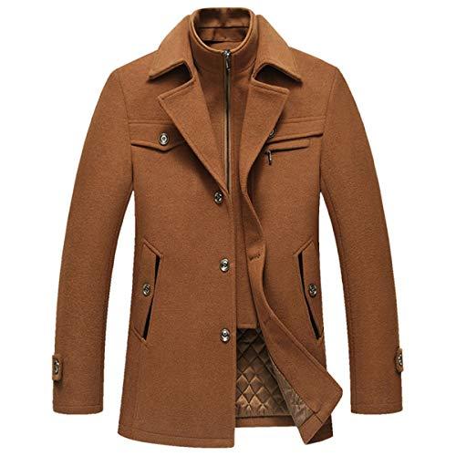 Allthemen Cappotto da Uomo in Lana Giacca Slim Fit da Lavoro Calda Invernale Trench Coat Soft Touch Corto Business Cachi L
