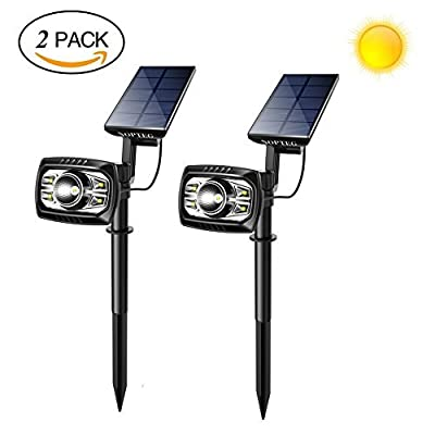 NOPTEG Upgraded Solar Lights 4+1 LED Waterproof Outdoor Landscape Lighting Spotlight Wall Light Auto On/Off Yard Garden Driveway Pathway Pool, Pack of 2