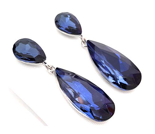 Pendientes Largos Mujer Bisutería Cristales de Colores Fiesta Boda Forma Lágrima Chapado Plata, Azul Noche