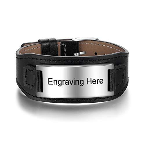 Jewellery Bracelets Bangle For Men Personalized Stainless Steel Id Engraved Bracelets For Men Customized Wide Black Leather Bracelets & Bangles Freeengraving