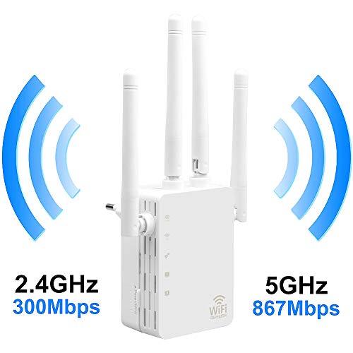 LU2000 WiFi Booster, 1200 WLAN Repeater Wi-Fi Verstaerker Range Extender Signal Xtra Booster Dualband(5GHz,867Mbps 2.4GHz 300Mbps) Signalverstärker - EU Plug