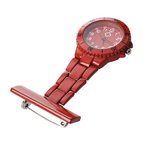 Moda Cuarzo Movimiento Rojo Broche de la Enfermera del Bolsillo de la túnica del Fob Reloj Pendiente del Reloj Colgante de la Enfermera para los Relojes de Bolsillo Nurse Doctor (Color : Red)