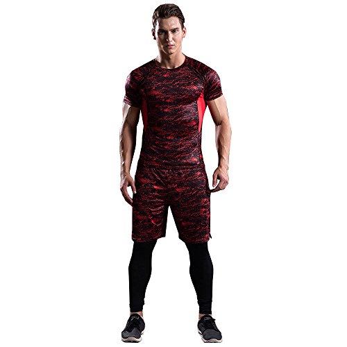 リール LIIL 上下 3点 セット 半袖 コンプレッション ウェア メンズ 吸汗速乾 4色 パンツ スポーツ