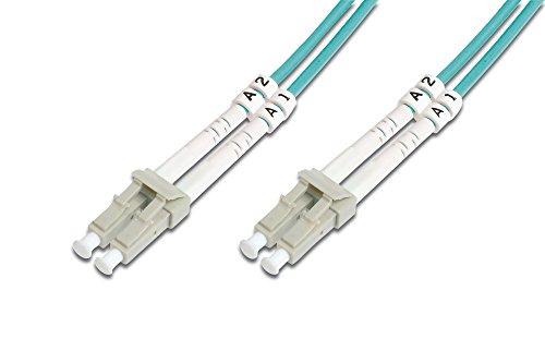 DIGITUS LWL Patch-Kabel OM3 - 15 m LC auf LC Glasfaser-Kabel - LSZH - Duplex Multimode 50/125µ - 10 GBit/s - Türkis