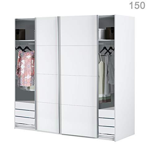 HABITMOBEL Armario Dormitorio Blanco 200 Puertas correderas, con Fondo Especial DE 60cm (CAJONERAS Incluidas)