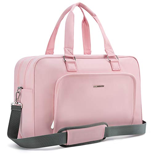 Weekender Bag, BAGSMART Carry On Bag Travel Duffle Bag Large Overnight Bag for Women, Dusty Pink
