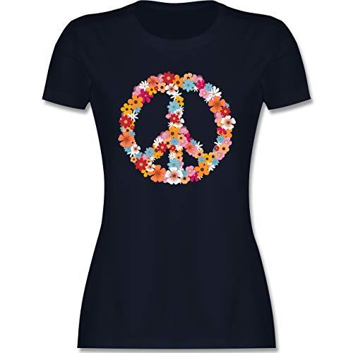 Statement - Peace Flower Power - M - Navy Blau - Hippi Kleidung - L191 - Tailliertes Tshirt für Damen und Frauen T-Shirt
