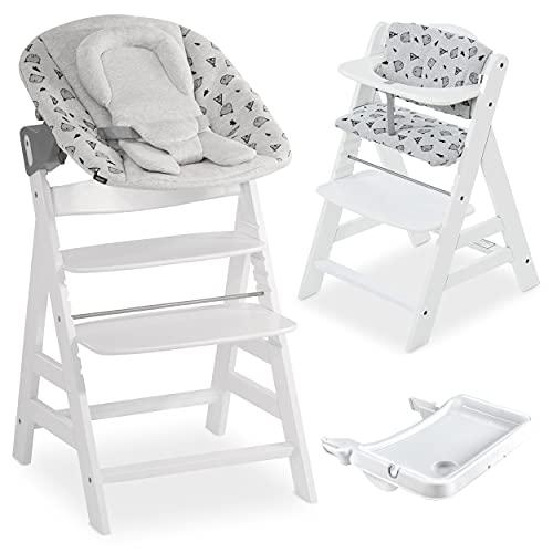 Hauck Alpha Plus XL Newborn Set Preimum - Trona Evolutiva Madera con Hamaca recién nacidos y cojín en algodón - Trona bebe con bandeja extraíble - Blanco/Nordic Grey