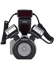 YONGNUO YN24EX E-TTL Speedlite Flash Macro 5600K con Las Cabezas 2pcs Flash y 4pcs Anillos Adaptador para Canon