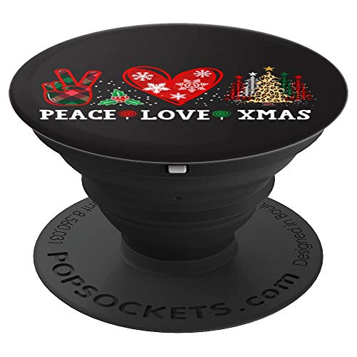 Peace Love Christmas Tee with Leopard Trees & Buffalo Plaid PopSockets Grip and Stand for Phones and Tablets