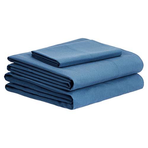 Amazon Basics Bettwäsche-Set aus gebürsteter Perkal-Baumwolle, Queensize, Dunkles Blaugrün