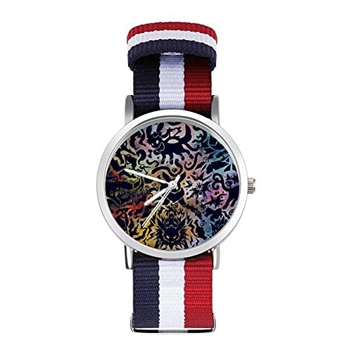 Anime Eevee PikachuBraided Band Reloj con escala de moda ajustable para negocios, banda de impresión a color, adecuado tanto para hombres como para mujeres