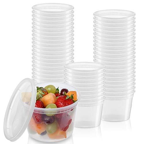 [24 Sets - 16 oz.] Plastic Deli Food Storage...
