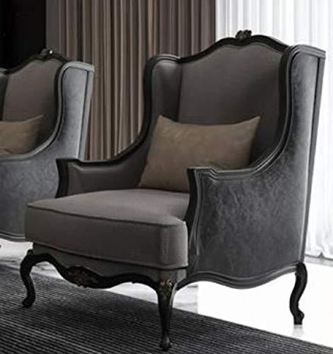 Casa Padrino sillón Orejas Barroco de Lujo Gris/Gris Oscuro/Negro 78 x 80 x A. 108 cm - Sillón de salón Noble de Estilo Barroco - Muebles de salón barrocos