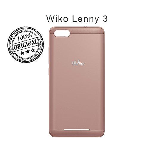 Lobishop Original Cache Batterie Or Rose Coque Arrière avec Logo pour Wiko Lenny 3 + Screen Cleaner Offert