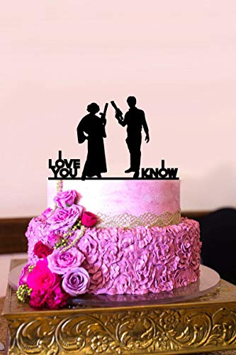 Star Wars Hochzeitstorte Topper I Love You I Know Han and Leia Super Hero Tortenaufsatz Elegant und Romantisch