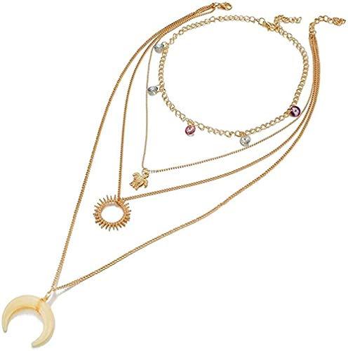 LLJHXZC Collar Vintage Multicapa Flor Cruz Colgante De Cristal Collar Perla Luna Estrella Cuerno Cuerno Media Luna Collar Joyería Femenina