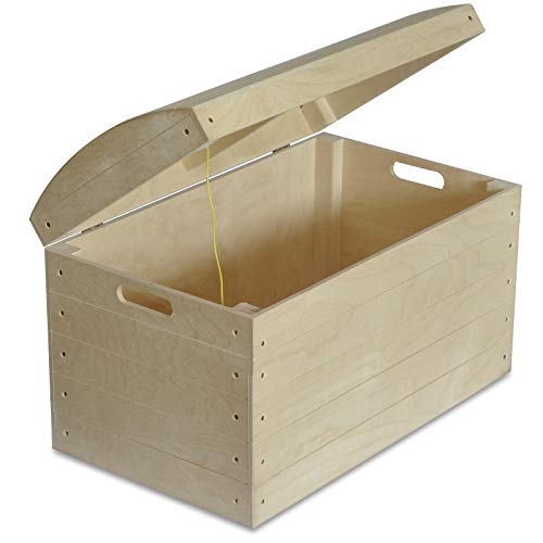 Creative Deco Grote Houten Speelgoedkist Kist voor Opbergruimte | 56,5 x 33 x 36,5 cm | Piratenschat Onafgewerkt Ongeschilderd | Perfect voor Decoupage Schilderen & Decoreren